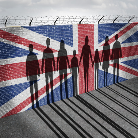 Britain immigration refugee crisis concept as people on a border wall with a British flag as a social issue on refugees or UK illegal immigrants with the shadow of a group of migrants with 3D illustration elements. Stockfoto