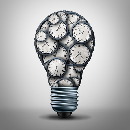 Clock time business solution concept as a group of clock objects shaped as a lightbulb or light bulb for appointment or deadline management or working hours idea icon as a 3D illustration. Stock Photo