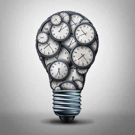 La hora del reloj concepto de solución de negocios como un grupo de objetos en forma de reloj como una bombilla o lámpara para su nombramiento o gestión plazo o las horas de trabajo icono idea como una ilustración 3D. Foto de archivo