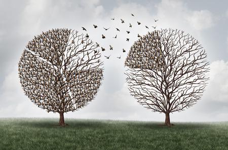 Overbrengen commerce financiële concept als een boom met een groep vogels in de vorm van een financiële cirkeldiagram diagram maken van een verhuizing naar een andere locatie als een economische handel symbool met 3D illustratie elementen. Stockfoto