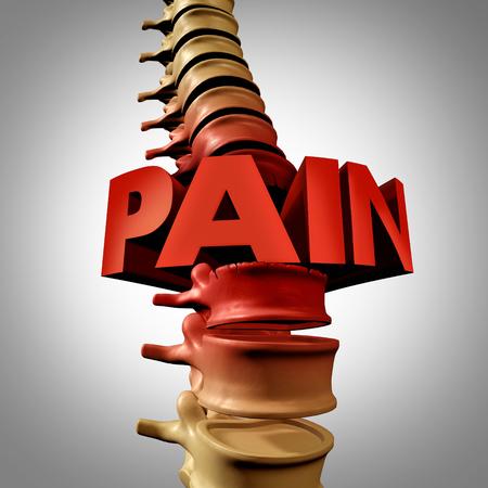 fractura: Humano texto dolor en la columna y fractura vertebral o el concepto médico lesión vertebral traumática como una anatomía columna vertebral con una vértebra dolorosa debido a la compresión y la osteoporosis volver enfermedad como una ilustración 3D.