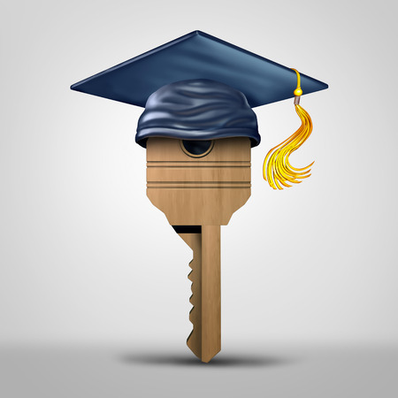job opportunity: Education key symbol representing learning success or graduating student metaphor as a tool to open a lock object as a 3D illustration.
