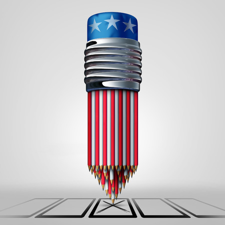 elect: United States vote and voter concept as a group of pencils with white red and blue American colors casting a voting choice on a paper ballot as an election campaign symbol as a 3D illustration.