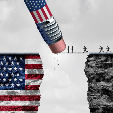 protectionism: United States border isolationism and protectionism or American immigration refugee crisis as people running to cross a bridge that is being erased by a pencil with a US flag on a cliff as a social issue on refugees or illegal immigrants with 3D illustration elements.
