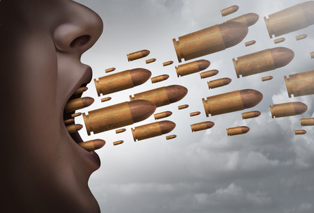 Fight with words social issue concept as a person screaming with bullets flying out of the mouth as a metaphor for strong communication and aggressive shouting with 3D illustration elements.