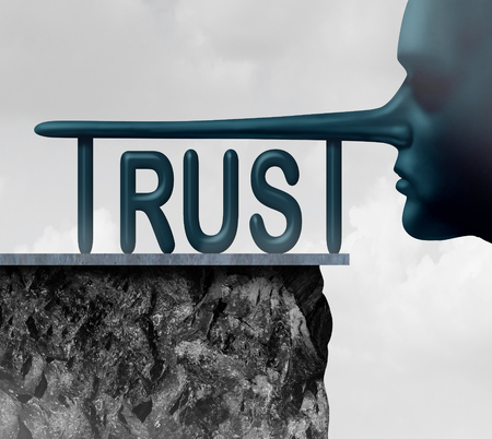 business confidence: Concept of trust and honesty problem symbol as text with a long liar or lying person nose completing the letters of the word as a symbol of mistrust and doubt or loss of confidence in politics or business in a 3D illustration style.