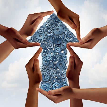 diversidad: concepto de negocio de éxito como grupo social de las manos cumplidor apoyo a una flecha hecha de engranaje de la máquina y las ruedas dentadas como una metáfora corporativa para tener éxito como un equipo diverso con elementos de ilustración 3D.