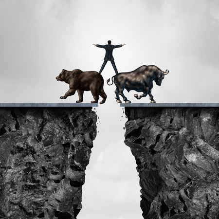 Concept of investment risk as a businessman balancing on top of a bear and bull as a financial metaphor for the danger of managing stock market forces of buying or selling in a 3D illustration style.