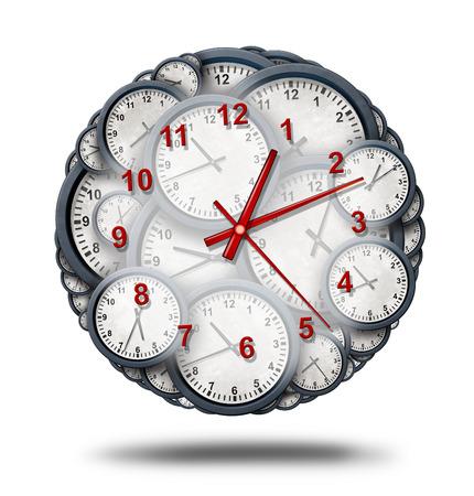 La gestión del tiempo y la multitarea o consolidar combinar múltiples citas de negocios como un calendario y la coordinación fecha corporativa como un grupo de relojes de reloj combinados entre sí para formar un solo reloj como una ilustración 3D. Foto de archivo