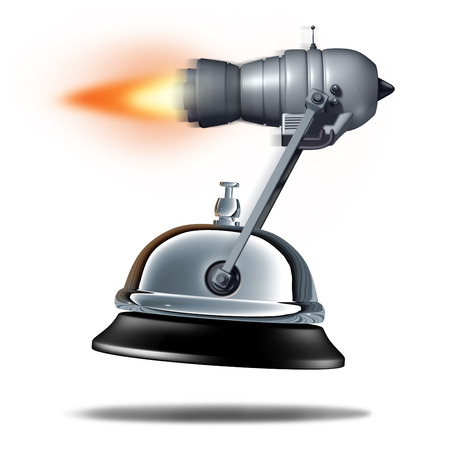 jet engine: Fast service symbol as a service bell being transported by a rocket jet engine as a quick customer support business symbol as a 3D illustration of rapid hospitality. Stock Photo