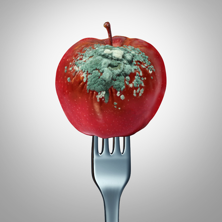 Rotten food symbol and spoiled awful meal concept as a fork holding a spoiled apple with fungus growing with 3D illustration elements as a metaphor for meals that are not fresh.