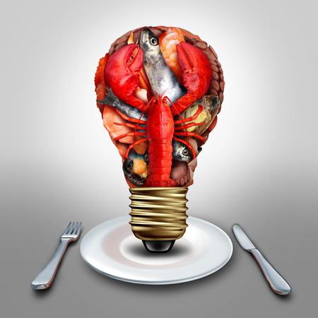 crustacean: Seafood idea and thinking sea food menu ideas as shellfish crustacean and fish grouped together shaped as a lightbulb or light bulb symbol on a diner plate with lobster clams mussels shrimp octopus and sardines as a cooking inspiration metaphor.