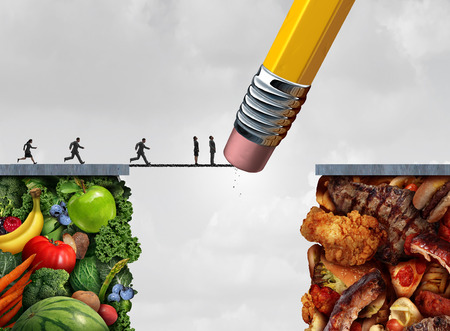 dietary: Control food temptation concept and diet or nutrition management symbol as a group of running people on healthy fruit and vegetables trying to cross over to fatty snacks but a pencil eraser blocks their way with 3D illustration elements as a willpower ico Stock Photo