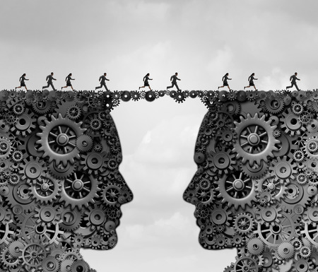 industria de negocios puente como un grupo de personas que corren a través de un enlace de engranajes y ruedas dentadas forma de una cabeza como una metáfora para el éxito soluciones de tecnología con elementos de ilustración 3D.