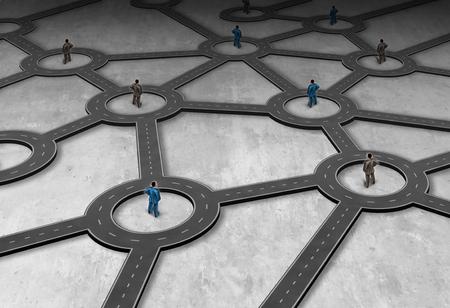 物流は、3 D イラストレーション スタイルのグローバルな流通構造としてリンク道路システムに接続された人々 のグループとして管理をネットワー