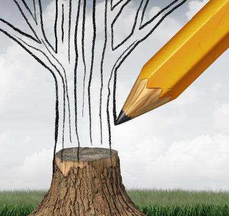 Herbebossing en het behoud van het klimaat als een milieu-concept met een potloodtekening het ontbrekende deel van een verlaging boomstam als een symbool voor de klimaatverandering duurzaam ecologisch beheer met 3D illustratie elementen.