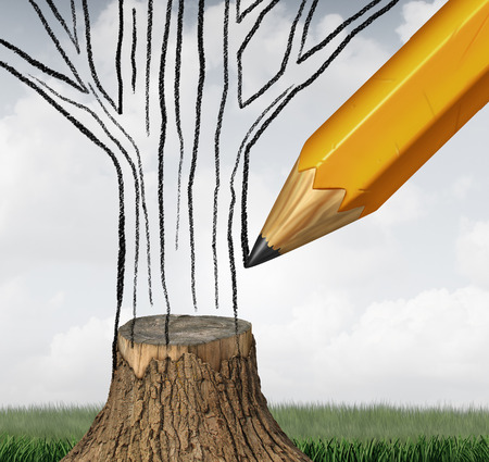 Reboisement et le climat de conservation comme un concept environnemental avec un dessin au crayon la partie manquante d'un tronc d'arbre coupé comme un symbole du changement climatique gestion écologique durable avec des éléments d'illustration 3D. Banque d'images