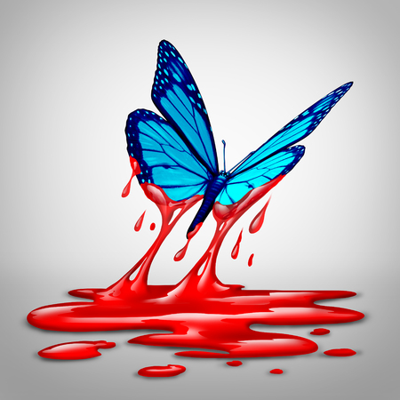bloodshed: Hope After Violence or optimism concept and diplomacy symbol as a butterfly flying out of blood as an icon for humanity and a global safer world with 3D illustration elements.
