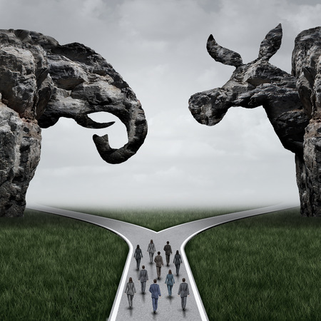 deciding: American election decision and voting in the USA concept as voters walking towards a fork in the road under a cliff shaped as an elephant and donkey representing conservative and liberal choices with 3D illustration elements. Stock Photo