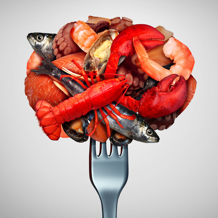 crustacean: Seafood concept as a group of shellfish crustacean and fish  grouped together on a fork as a fresh meal from the ocean as lobster steamed clams mussels shrimp octopus and sardines as a sea gourmet dinner icon with 3D illustration Elements.