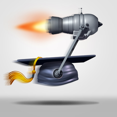 faster: Learn faster and fast education or speed learning concept as a jet engine moving a graduation cap as a metaphor for rapid student success or career goals as a 3D illustration.
