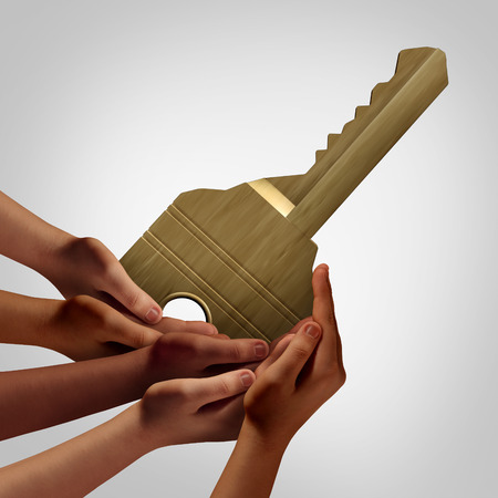 diverse hands: People group key access concept as diverse hands holding an object that unlocks as a teamwork solution metaphor or allowing accessibility symbol with 3D illustration elements. Stock Photo