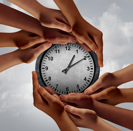 Time teamwork concept as a group of diverse hands coming together to hold a clock as a business symbol for organizing a global meeting with 3D illustration elements.