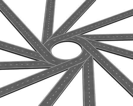 収束道路または高速道路ビジネスの比喩、集中集中する複数のパス一緒に白い背景に分離した 3 D イラストのスタイルで統一の概念としての概念を表