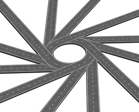merge together: Converging road or highway business metaphor representing the concept of a concentrating multiple paths to focus together as a concept of unity in a 3D illustration style isolated on a white background.