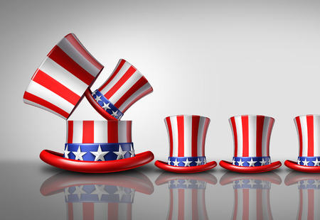 voters: American population increase demographic concept as an open large United States top hat giving birth to smaller hats as a national fertility growth symbol or increasing voters as a 3D illustration.