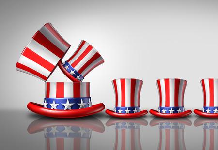 demografia: aumento de la población de América del concepto demográfica como un sombrero de copa Estados Unidos abierto grande dar a luz a los sombreros más pequeños como un símbolo nacional de crecimiento de la fertilidad o el aumento de los votantes como una ilustración 3D. Foto de archivo