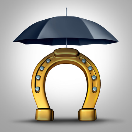 wealth concept: Financial prosperity security and protecting fortune wealth metaphor and luck concept as a horse shoe or horseshoe icon pretected by an umbrella as a 3D illustration.