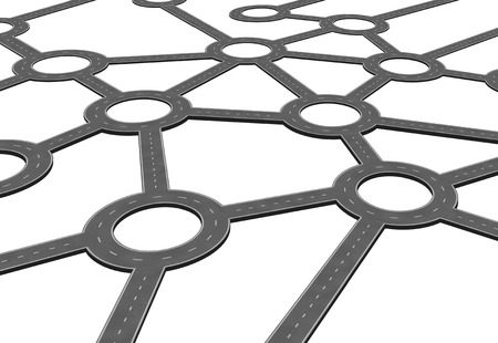 Business road network and logistics transportation system concept as a networking connection of linked streets and highway paths in a 3D illustration style isolated on white.