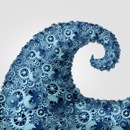 famous industries: Business wave trends concept as a group of cogwheel and gear objects shaped as an ocean wave surging with force as a metaphor for technology current of change as a 3D illustration. Stock Photo