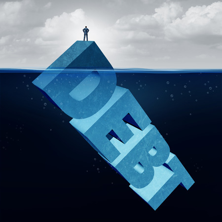 Hidden debt business and unknown financial danger concept as a naive businessman standing on the tip of an iceberg as a 3D illustration text element as an invisible finance and liability risk.