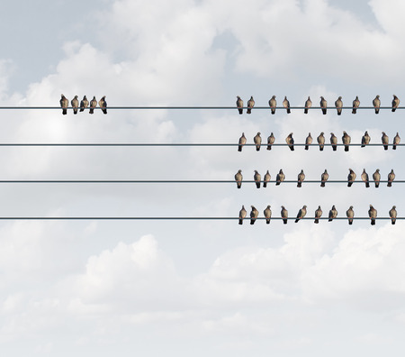 metaphors: Excluded group business concept as birds on a wire with a small team perched away and apart from the majority as a social metaphor for exclusion or discrimination with 3D illustration elements.