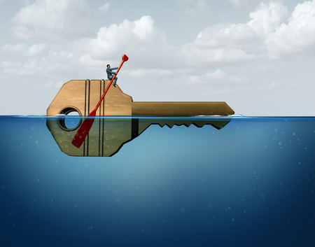 guidance: Solution management business concept as a leader businessman guiding and directing a giant key in the water as a metaphor for corporate guidance and direction strategy with 3D illustration elements.