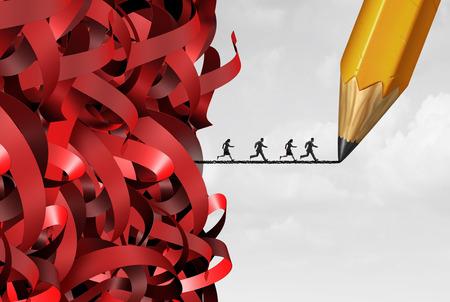 Bureaucratie et gestion de l'administration succès avec un groupe de la bande et les gens fuyant sur une ligne de crayon de dessin comme un symbole de solution bureaucratique avec des éléments d'illustration 3D rouge emmêlés.