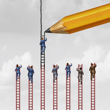 but: Career advice concept and business success support symbol as a group of businessmen and businesswomen climbing limited ladders but one individual that is helped by a pencil extending opportunity with 3D illustration elements.