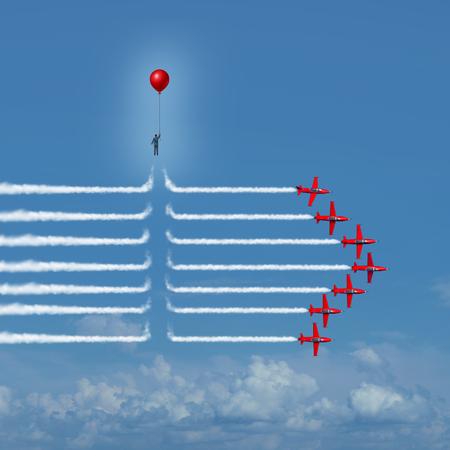 pensamiento creativo: cambio disruptivo como una persona ajena interrumpir las estelas de humo avión jet con elementos de ilustración 3D como un innovador en los negocios o innovadora símbolo agente de cambio.