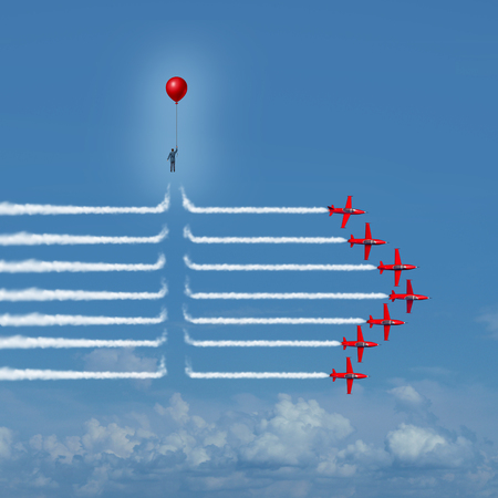 surreal: Disruptive change as an outsider person disrupting the jet airplane smoke trails with 3D illustration elements as a business innovator or innovative change maker symbol.