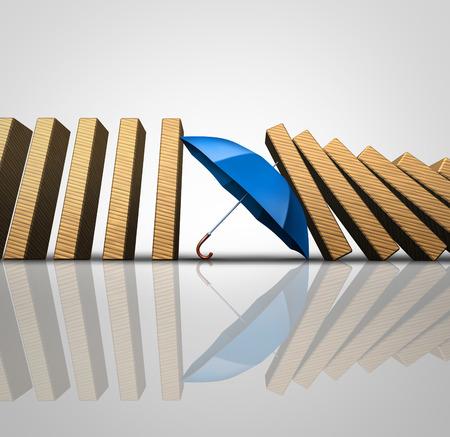 Proteger a las pérdidas concepto y el blindaje de desastres entrante como un paraguas detener el efecto dominó o fichas de dominó cayendo como una metáfora garantía de negocio como una ilustración 3D. Foto de archivo
