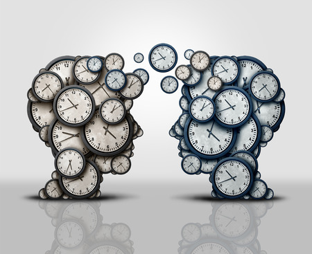 Time partnership and coordination of business scheduling meeting as two groups 3D illustration clock objects shaped as a human head communicating and participating in an exchange as a corporate schedule meeting of partners.