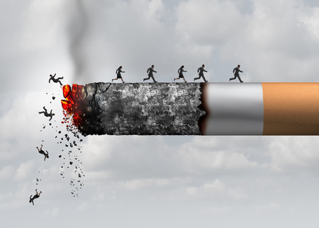 health risks: Smoking death and danger concept as a cigarette burning with people falling and escaping the hot burning ash as a metaphor for toxic smoke exposure causing lung cancer and lethal health risks with 3D illustration elements.