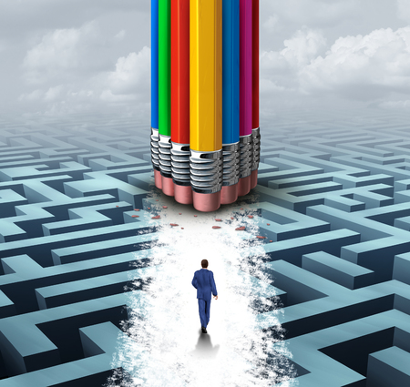Innovate group concept as many diverse pencil erasers clearing a pathway on a maze as a business success metaphor of team support opening opportunity with 3D illustration elements.
