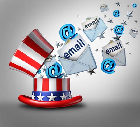reveal: American election email crisis concept as an open top hat with the stars and stripes of the United States and internet email letter symbols emerging out as a 3D illustration.