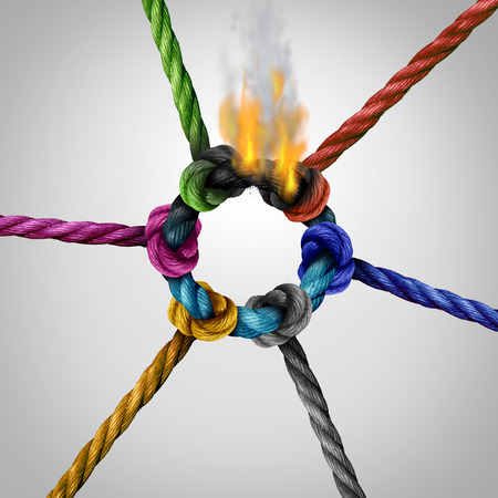Network connection problem as a business risk concept with a group of diverse ropes connected to a circle on fire burning and breaking the link as a metaphor for connectivity trouble and linking hazard or communication failure.