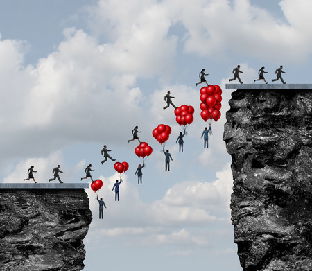 surreal: Business teamwork success and corporate team effort working together to solve challenges as a group of people holding balloons creating a successful bridge between a challenging gap with 3D illustration elements. Stock Photo