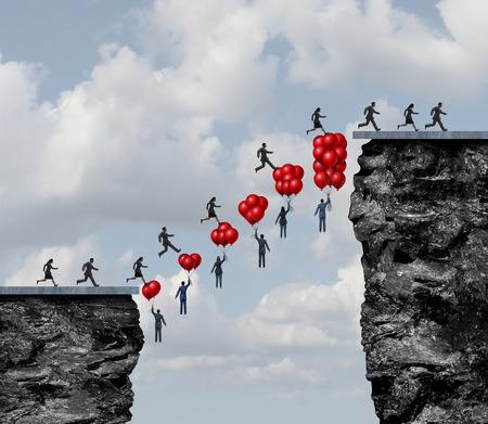 Geschäftsteamwork-Erfolg und Corporate Teamarbeit zusammenarbeiten Herausforderungen als eine Gruppe von Menschen eine erfolgreiche Brücke zwischen einem herausfordernden Lücke, die Luftballons fliegen zu lösen zu schaffen mit 3D-Darstellungselemente.