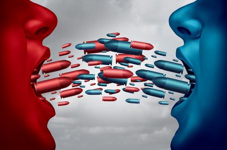 comunicar: Concepto de debate y discusión política como símbolo de dos competidores opuestas debatiendo y discutiendo con la boca abierta y las balas vuelan simbólicos uno hacia el otro como una metáfora disputa con elementos de ilustración 3D. Foto de archivo